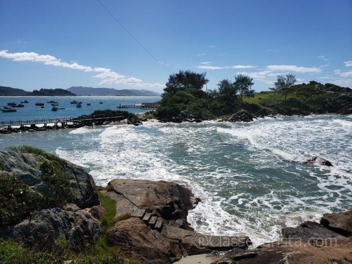 View of Campaign Island: trail to Matadeiro beach, Florianópolis, Brazil
