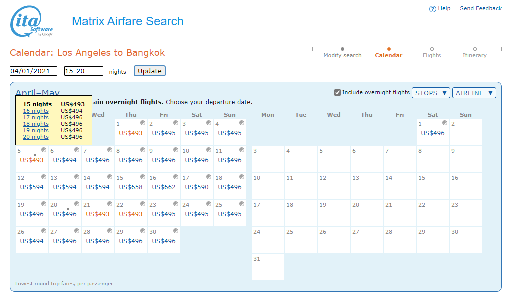 Airfares for different lengths of stay, Matrix Itasoftware