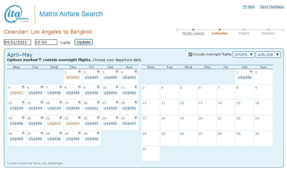 Best dates to fly between LAX and BKK, Matrix Itasoftware
