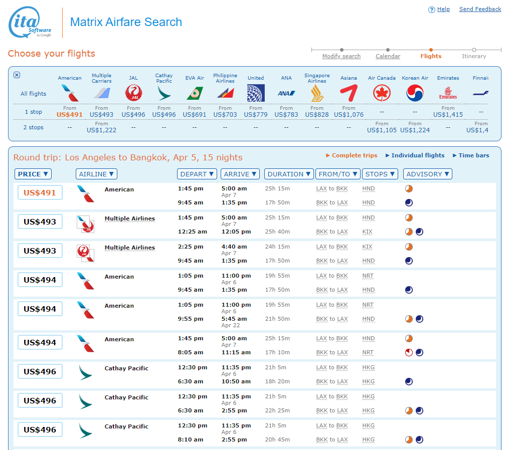 Flights between LAX and BKK with lowest airfares